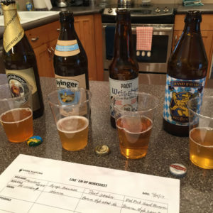 Tasting some typically German beers during Week 3 of the Beer Tasting Mastery course.
